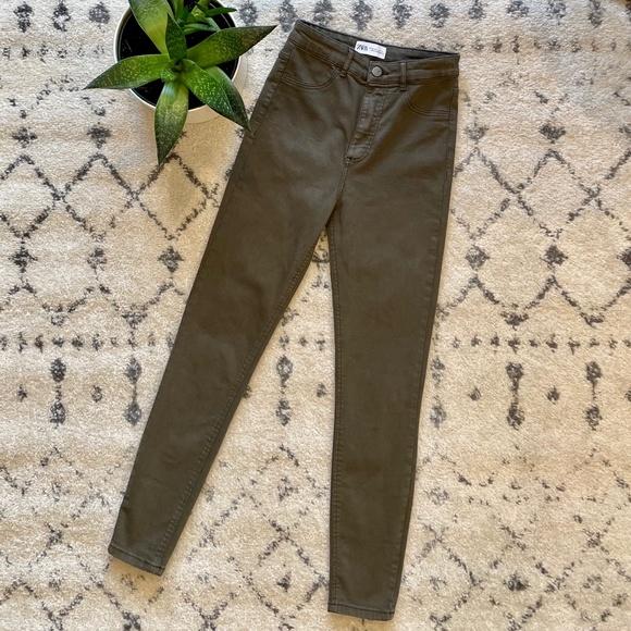Zara Dark Olive Green Skinny Jeans - Size 2